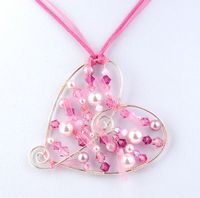 Wirework Chic Heart Pendant Jewellery Making Kit with SWAROVSKI® ELEMENTS. Pink tones